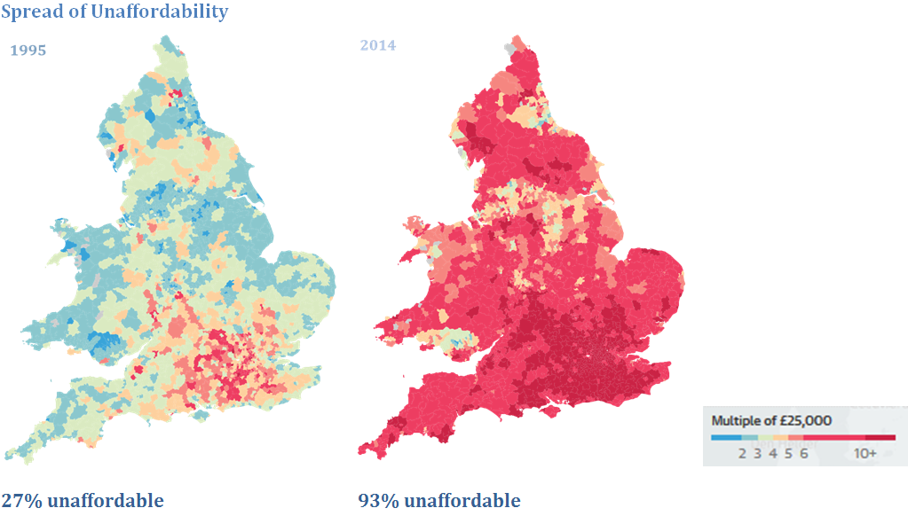 Spread of unaffordability maps