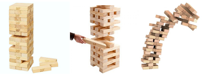 Falling Jenga bricks