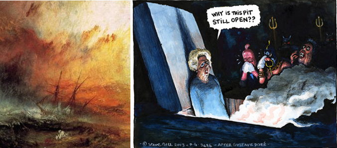turner seascape and steve bell cartoon