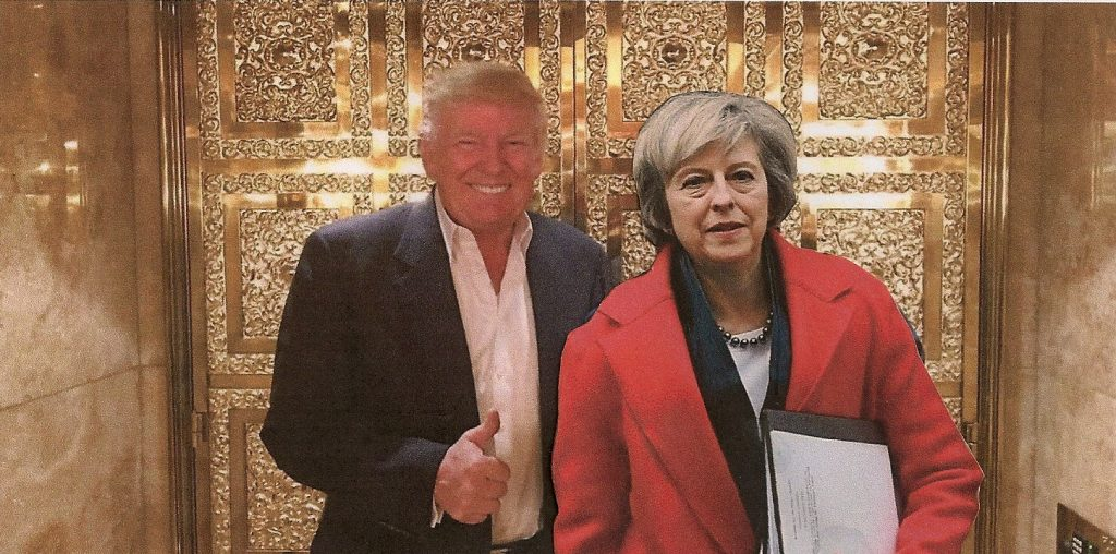 Trump and May at lift
