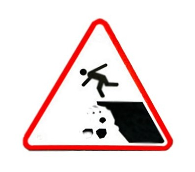 Sign of man going over cliff
