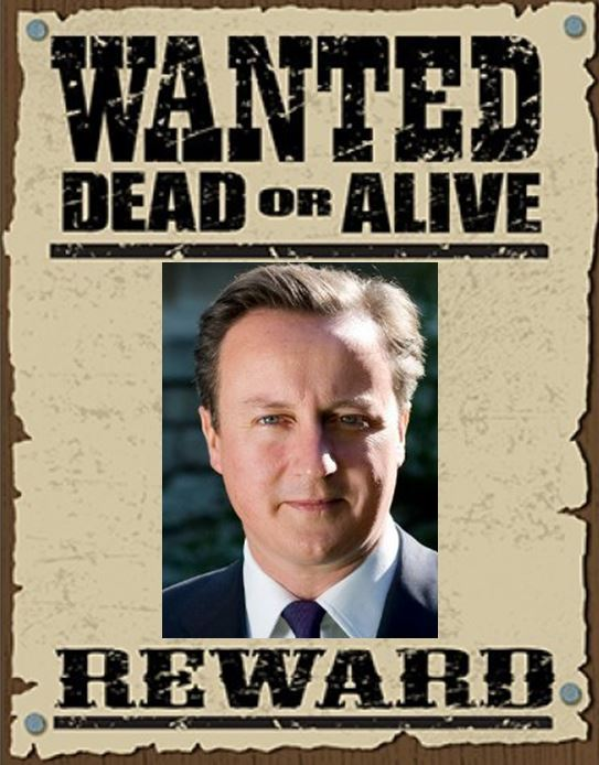 David Cameron wanted poster